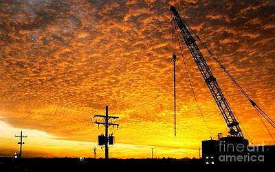 Photograph - Erecting A Sunset In Beaumont Texas by Michael Hoard