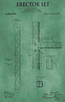 Toy Store Mixed Media - Erector Set Patent Green by Dan Sproul