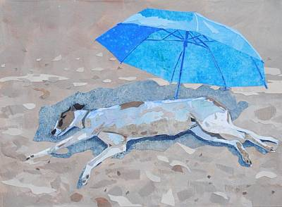Greyhounds Mixed Media - Eric At The Beach by Alyson Champ