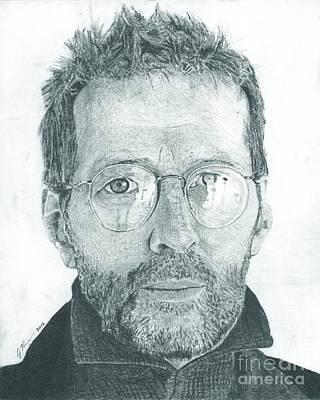 Slowhand Drawing - Eric Clapton by Jeff Ridlen