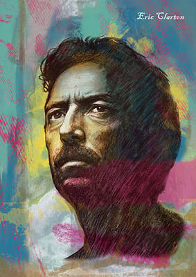Eric Clapton Drawing - Eric Clapton Stylised Pop Art Drawing Poster by Kim Wang