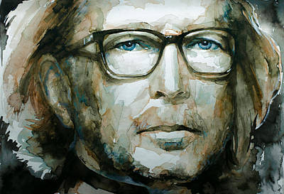 Slowhand Painting - Eric Clapton Watercolor by Laur Iduc