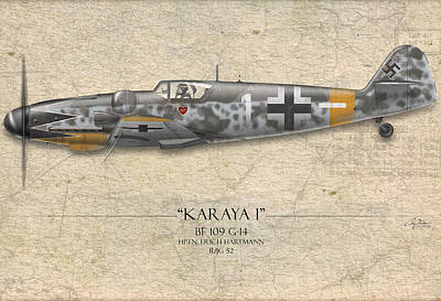 Erich Hartmann Messerschmitt Bf-109 - Map Background Art Print