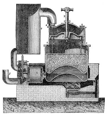 Boiler Photograph - Ericsson Hot Air Engine by Science Photo Library