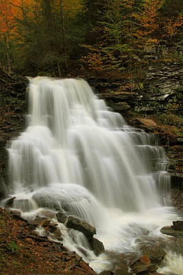 Erie Falls In Autumn At Ricketts Glen State Park Print by Jetson Nguyen