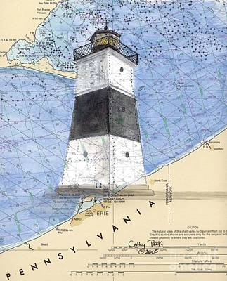 Chart Painting - Erie Harbor Lighthouse Pa Nautical Chart Map Art Cathy Peek by Cathy Peek