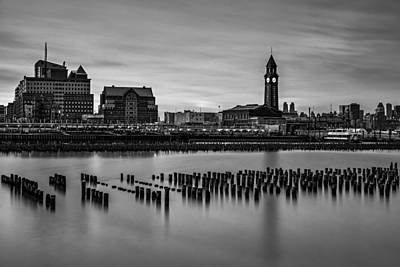 Photograph - Erie Lackawanna Terminal Sunset Bw by Susan Candelario