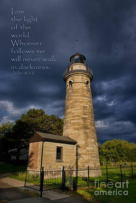 Photograph - Erie Land Lighthouse With Verse by David Arment