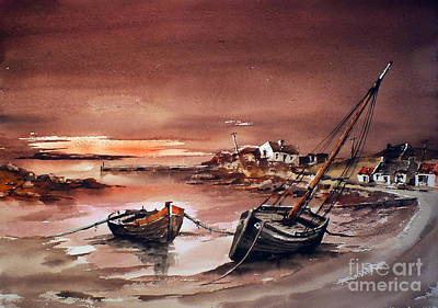Painting - Erlak Sunset Galway by Val Byrne