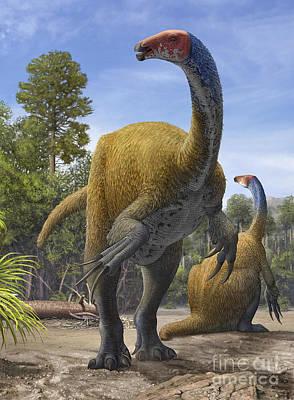 Searching Digital Art - Erlikosaurus Andrewsi Dinosaurs by Sergey Krasovskiy