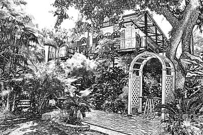 Digital Art - Ernest Hemingway House And Lush Gardens Key West Florida Bw Colored Pencil Digital Art by Shawn O'Brien