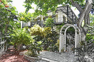 Hemingway Digital Art - Ernest Hemingway House And Lush Gardens Key West Florida Colored Pencil Digital Art by Shawn O'Brien