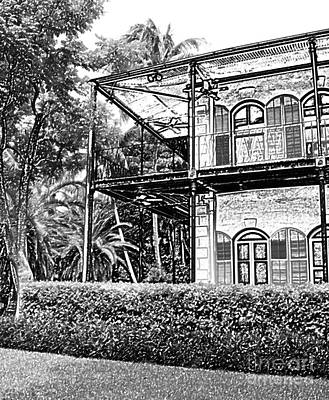 Hemingway House Wall Art - Digital Art - Ernest Hemingway House Key West Florida Black And White Colored Pencil Digital Art by Shawn O'Brien