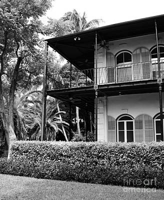 Photograph - Ernest Hemingway House Key West Florida Black And White by Shawn O'Brien