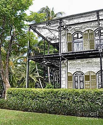 Hemingway Digital Art - Ernest Hemingway House Key West Florida Colored Pencil Digital Art by Shawn O'Brien