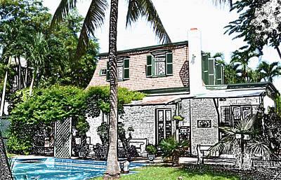 Hemingway House Wall Art - Digital Art - Ernest Hemingway House Writing Studio Key West Florida Colored Pencil Digital Art by Shawn O'Brien