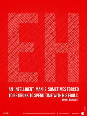 Motivational Digital Art - Ernest Hemingway Quote Poster by Naxart Studio