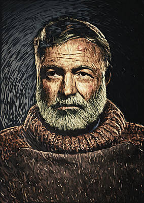 Digital Art - Ernest Hemingway by Taylan Apukovska