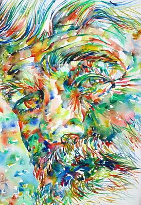 Ernest Hemingway Painting - Ernest Hemingway Watercolor Portrait.1 by Fabrizio Cassetta