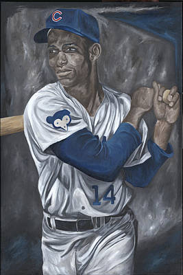 Ernie Banks Art Print by David Courson