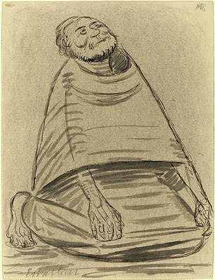 Wash Drawing - Ernst Barlach, Man Kneeling, German, 1870-1938 by Litz Collection