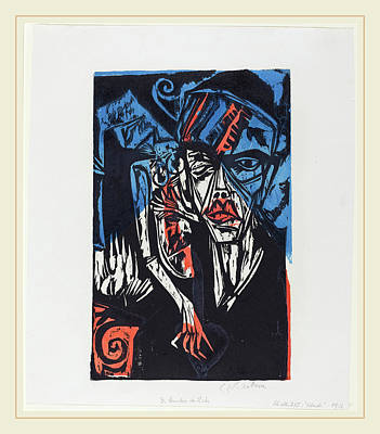Color Block Drawing - Ernst Ludwig Kirchner, Qualen Der Liebe, German by Litz Collection