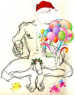 Mixed Media - Erotic Holiday Cards - Morning Eggnog by Carolyn Weltman