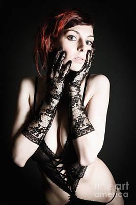 Female Body Photograph - Erotic Woman With Gloves by Jochen Schoenfeld