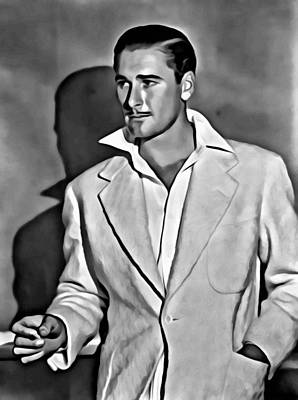 Hollywood Painting - Errol Flynn by Florian Rodarte