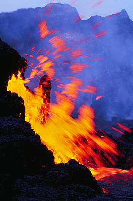 Photograph - Erupting Lava, Hawaii Volcanoes Hawaii by Frans Lanting/MINT Images
