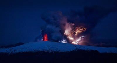 Heat Lightning Photograph - Erupting Volcano, Eyjafjallajokull by Panoramic Images
