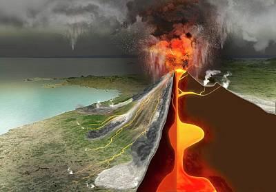 Eruption Of Mount Vesuvius Art Print by Claus Lunau