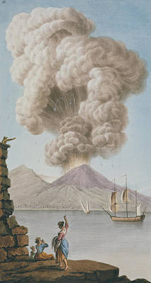 Sicily Drawing - Eruption Of Vesuvius, Monday 9th August 1779 by Pietro Fabris