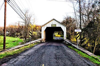 Covered Bridge Digital Art - Erwinna Covered Bridge by Bill Cannon
