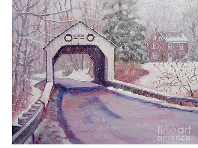 Covered Bridge Painting - Erwinna Covered Bridge by Bonita Waitl