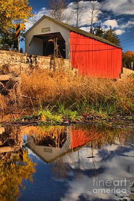 Photograph - Erwinna Covered Bridge In Swamp Creek by Adam Jewell