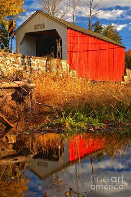 Photograph - Erwinna Covered Bridge Portrait by Adam Jewell