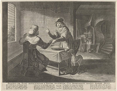 Esau Sells His Birthright To Jacob, Print Maker Anonymous Art Print by Anonymous And Claes Jansz. Visscher Ii And Nicolaes Visscher I