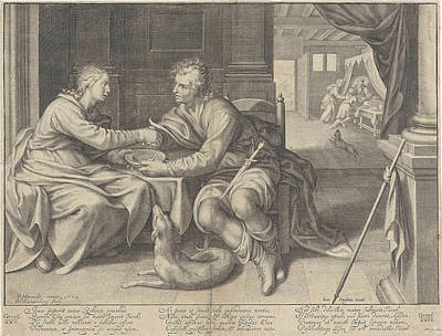 Esau Sells His Birthright To Jacob William Isaacsz Art Print by Petrus Scriverius And Johannes Janssonius