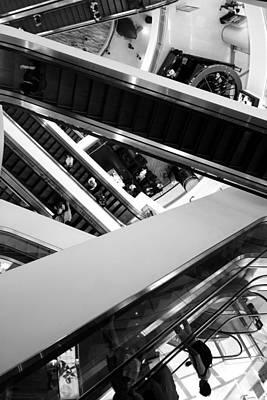 Optical Illusion Maze Photograph - Escalator Maze by Lauren Rathvon