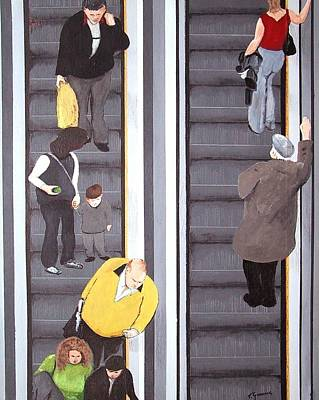 Escalator Art Print by Tony Gunning