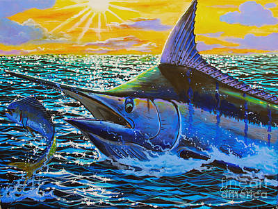 Striped Marlin Painting - Escape by Carey Chen