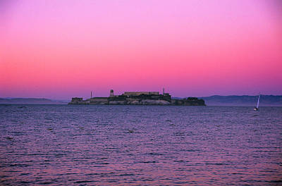 Photograph - Escape From Alcatraz Under A Pink Sunset In A Sailboat by Jeremy Herman