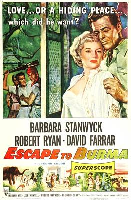 1955 Movies Photograph - Escape To Burma, Us Poster, From Left by Everett