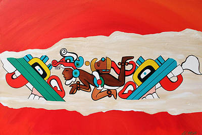 Mayan Painting - Escaping The Mayan Underworld by Carlos Martinez