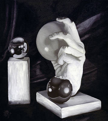 Sphere Painting - Escher's Hand by Kd Neeley