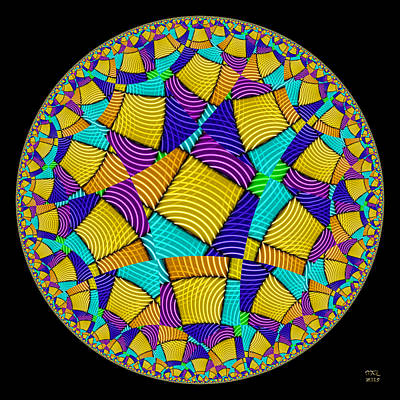 Digital Art - Escher's Chronodisk - Hyperbolic Disk by Manny Lorenzo