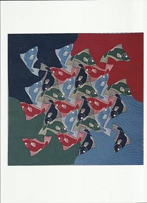 Block Quilts Painting - Eschers Fishes Quilt by Bruce Combs - REACH BEYOND