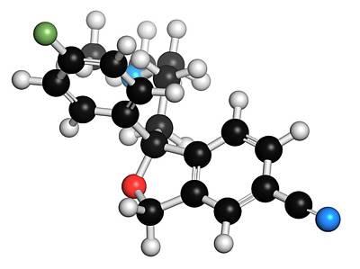 Antidepressant Photograph - Escitalopram Antidepressant Drug Molecule by Molekuul