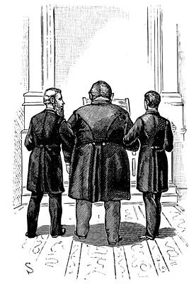 Photograph - Escorting To The Chair 1886 Drawing by Phil Cardamone
